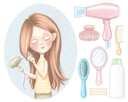 Set of cartoon young girl dries red hair, shampoo, combs, hair dryer, curlers and hairpin. Digital graphic hand drawn illustration isolated on white background 写真素材