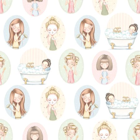 Seamless pattern with five cartoon cute girls who do beauty treatments on color pattern. Digital graphic hand drawn illustration isolated on white background