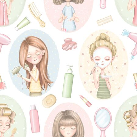 Seamless pattern with four cartoon girls who do beauty treatments on color pattern and various cosmetics. Digital graphic hand drawn illustration isolated on white background