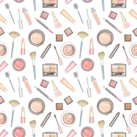 Seamless pattern with cartoon different packages for decorative cosmetics. Digital hand drawn illustration isolated on white background Stock fotó