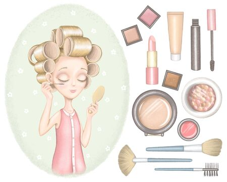 Set with young girl in hair curler who paints eyes with mascara and looks in the mirror on green background and various decorative cosmetics. Digital graphic hand drawn illustration isolated on white background
