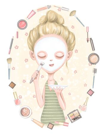 Composition with frame of different packages for decorative cosmetics and young girl with mask on face on floral background. Digital hand drawn illustration isolated on white background