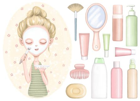 Set of cartoon young girl puts cosmetic mask on face, shampoo, soap and different cartoon bottles for body care cosmetics. Digital graphic hand drawn illustration isolated on white background