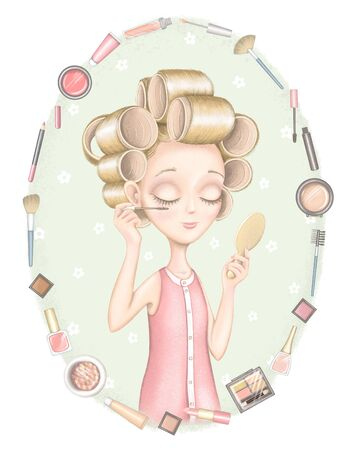 Composition with different packages for decorative cosmetics and young girl in hair curler paints eyes with mascara and looks in the mirror on green background. Digital hand drawn illustration isolated on white background Stock fotó