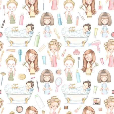 Seamless pattern with five young girls who dries hair, does makeup, puts on a face mask, lies in bathroom, paints nails and various cosmetics isolated on white background. Digital hand drawn illustration Reklamní fotografie