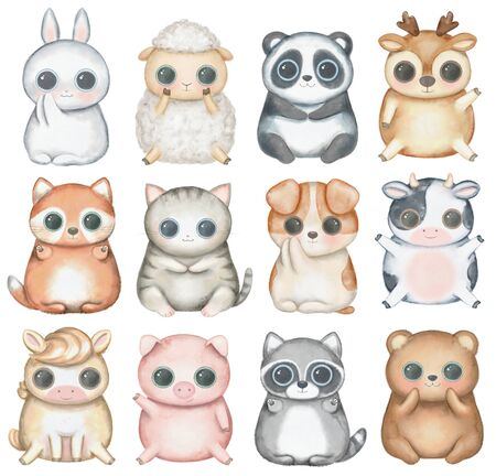 Set with kawaii cartoon cute deer, fox, raccoon, panda, bear, pig, sheep, cat, dog, horse, cow and bunny isolated on white background. Watercolor hand drawn illustration