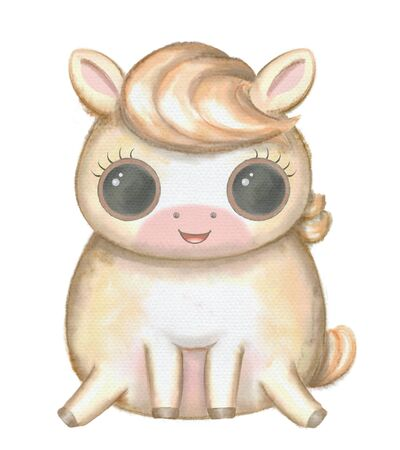 Wellow kawaii cartoon cute little horse with big eyes isolated on white background. Watercolor hand drawn illustration Zdjęcie Seryjne