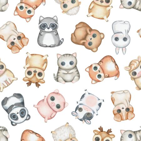 Seamless pattern with kawaii cartoon cute deer, fox, raccoon, panda, bear, pig, sheep, cat, dog, horse, cow and bunny isolated on white background. Watercolor hand drawn illustration 写真素材