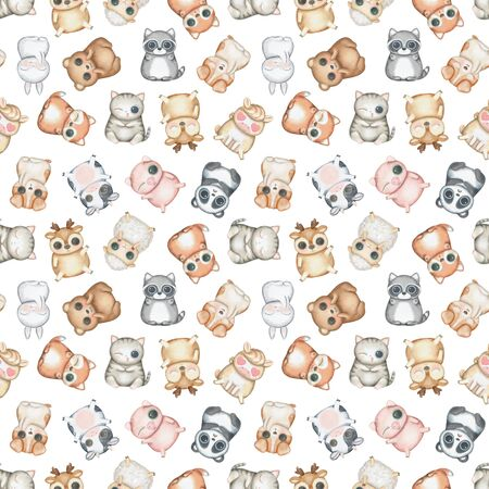 Seamless pattern with kawaii cartoon cute deer, fox, raccoon, panda, bear, pig, sheep, cat, dog, horse, cow and bunny with diverse emotions isolated on white background. Watercolor hand drawn illustration