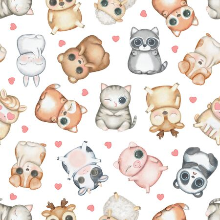 Seamless pattern with kawaii cartoon cute deer, fox, raccoon, panda, bear, pig, sheep, cat, dog, horse, cow, bunny and hearts isolated on white background. Watercolor hand drawn illustration