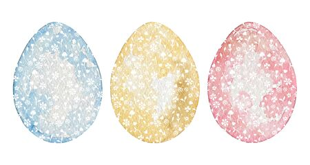 Set with three vintage easter eggs in blue, yellow and pink colors and with white floral pattern. Watercolor hand drawn illustration
