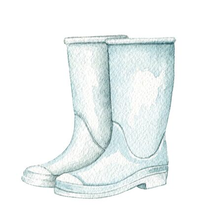 Vintage pair of blue rubber boots isolated on white background. Watercolor hand drawn illustration