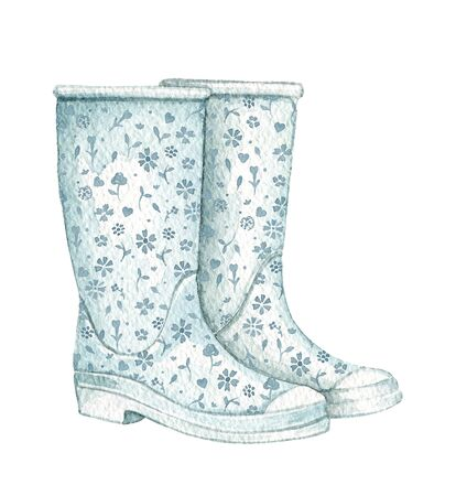 Vintage pair of blue rubber boots with floral pattern isolated on white background. Watercolor hand drawn illustration Imagens