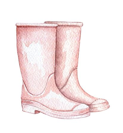 Vintage pair of pink rubber boots isolated on white background. Watercolor hand drawn illustration