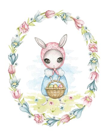 Easter bunny girl in a blue dress and kerchief, with basket with eggs on floral meadow in oval frame of flowers . Watercolor hand drawn illustration Stock fotó
