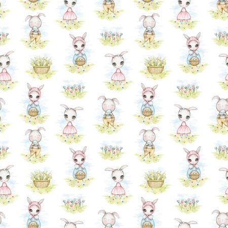 Seamless pattern with Easter bunnies, flowers and basket with lilies of the valley in the meadow. Watercolor hand drawn illustration