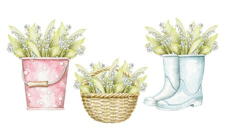 Set with bucket, wicker basket and gumboots with bouquet with lilies of the valley isolated on white background. Watercolor hand drawn illustration