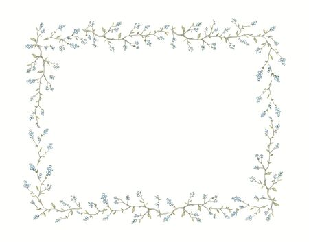 Rectangular frame with vintage graceful branches with blue berries and small leaves isolated on white background. Watercolor hand drawn illustration