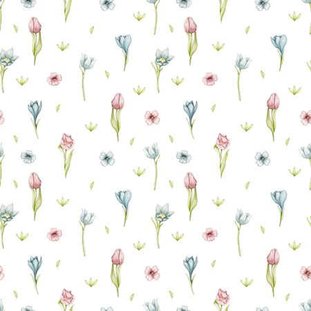 Seamless pattern with spring flowers, leaves and greens isolated on white background. Watercolor hand drawn illustration