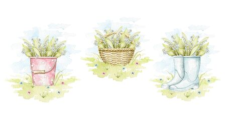 Set with bucket, wicker basket and gumboots with bouquet with lilies of the valley in meadow isolated on white background. Watercolor hand drawn illustration