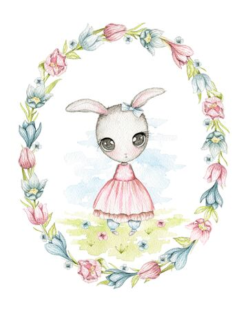 Easter cartoon cute shy bunny girl with big eyes and in pink dress on floral meadow isolated in oval frame of flowers. Watercolor hand drawn illustration