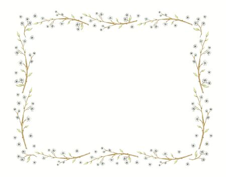 Rectangular frame with vintage graceful spring branches of apple, cherry, plum with flowers isolated on white background. Watercolor hand drawn illustration Stock fotó