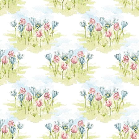 Seamless pattern with spring tulips flowers on meadow isolated on white background. Watercolor hand drawn illustration Stock fotó