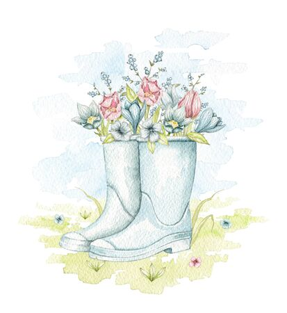 Vintage blue gumboots with vintage spring flowers isolated on floral meadow. Watercolor hand drawn illustration
