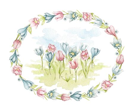 Composition with spring tulips flowers on meadow in oval frame of flowers. Watercolor hand drawn illustration