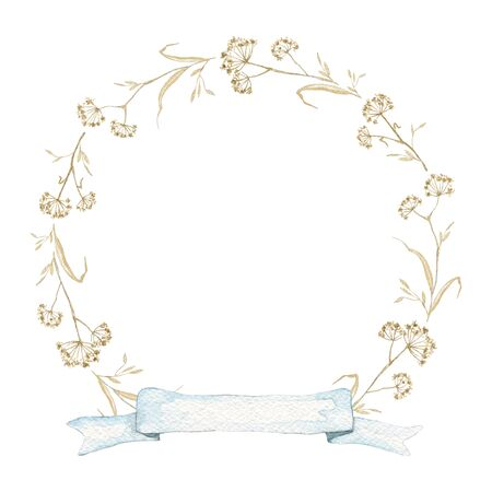 Round frame with vintage graceful dry herbs herbarium and blue banner ribbon isolated on white background. Watercolor hand drawn illustration Stock fotó