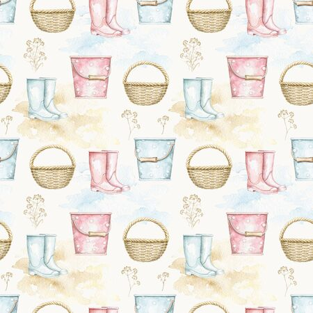 Seamless pattern with herbs, wicker basket, bucket and rubber boots on watercolor stains. Hand drawn illustration Stock fotó