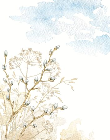 Composition card with vintage graceful dry herbs herbarium, willow branches against the background of heaven and earth. Watercolor hand drawn illustration