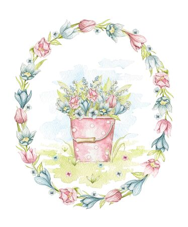 Vintage pink bucket with polka dot pattern and with spring flowers bouquet in oval frame on floral meadow. Watercolor hand drawn illustration