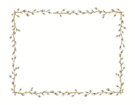 Rectangular frame with vintage graceful spring branches of pussy-willow isolated on white background. Watercolor hand drawn illustration
