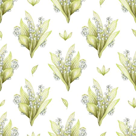 Seamless pattern with bouquet with lilies of the valley isolated on white background. Watercolor hand drawn illustration