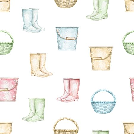 Seamless pattern with multicolor wicker baskets, buckets and rubber boots isolated on white background. Hand drawn illustration