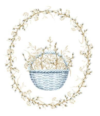 Vintage composition with blue wicker basket with spring willow branches, buds and dry herbs herbarium. Watercolor hand drawn illustration Stock fotó