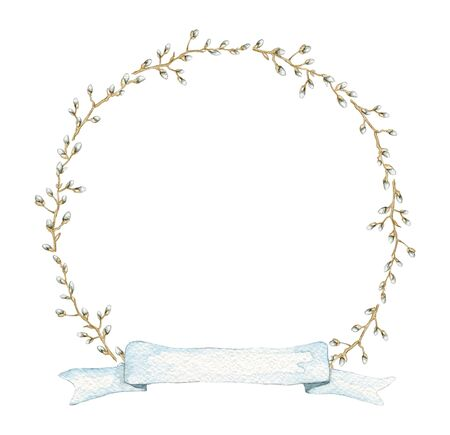 Round frame with vintage graceful spring branches of pussy-willow and blue banner ribbon isolated on white background. Watercolor hand drawn illustration