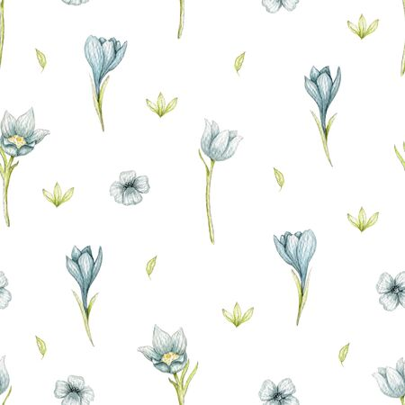 Seamless pattern with blue spring flowers, leaves and greens isolated on white background. Watercolor hand drawn illustration Stock fotó