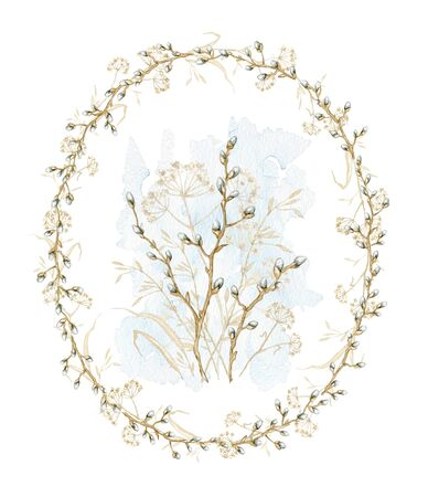 Vintage composition with spring willow branches with buds and dry herbs herbarium on oval frame. Watercolor hand drawn illustration