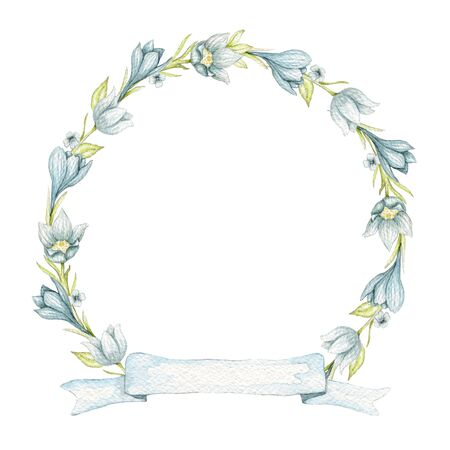 Round frame with vintage spring blue flowers and banner ribbon isolated on white background. Watercolor hand drawn illustration Stock fotó