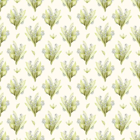 Seamless pattern with bouquet with lilies of the valley isolated on beige background. Watercolor hand drawn illustration