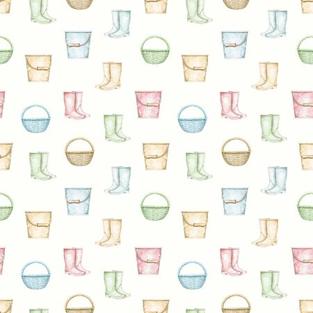 Seamless pattern with multicolor wicker baskets, buckets and rubber boots isolated on beige background. Hand drawn illustration