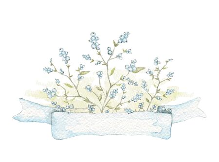 Composition with vintage graceful branches with blue berries and banner ribbon isolated on white background. Watercolor hand drawn illustration Stock fotó