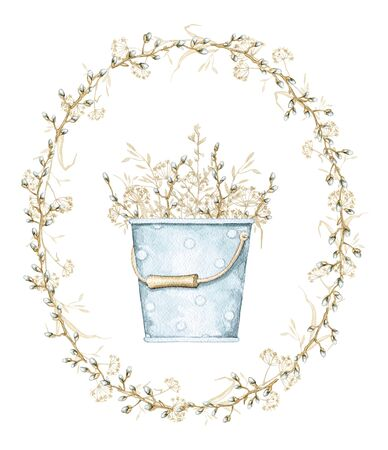 Vintage blue composition with bucket with polka dot pattern and with spring willow branches, buds and dry herbs herbarium on oval frame. Watercolor hand drawn illustration