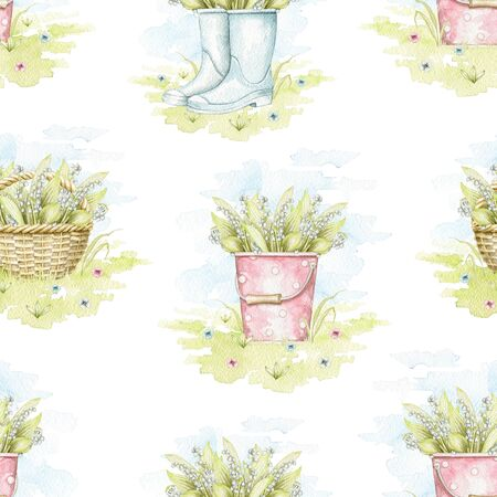 Seamless pattern with wicker baskets, buckets and rubber boots with bouquet with lilies of the valley on floral meadow. Hand drawn illustration