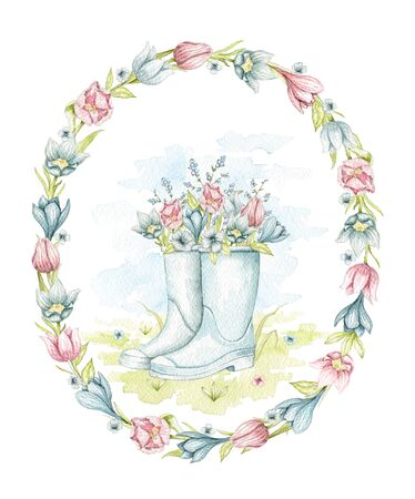 Vintage blue gumboots with spring bouquet on floral meadow in oval frame with flowers. Watercolor hand drawn illustration
