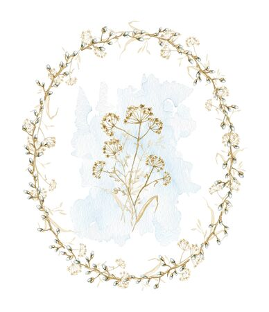 Vintage composition with spring branches and dry herbs herbarium on oval frame. Watercolor hand drawn illustration