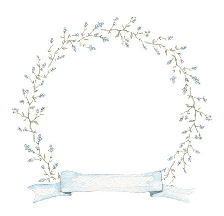Round frame with vintage graceful branches with berries, small leaves and blue banner ribbon isolated on white background. Watercolor hand drawn illustration