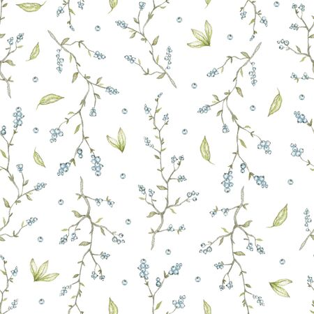 Seamless pattern with three vintage graceful branches with blue berries isolated on white background. Watercolor hand drawn illustration